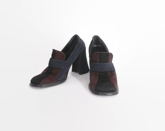 Vintage 90s Colorblock LOAFERS / 1990s Chunky Heel Navy Brown & Black Slip On Heels 6