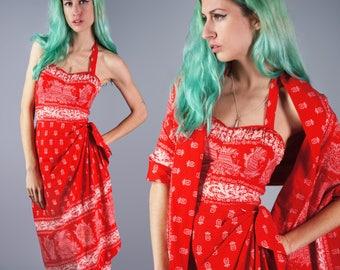 50s Hawaiian Sarong Dress 1950s Pineapple Print Dress Red Halter Dress with Matching Scarf Cotton Dress