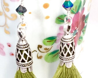 Green Tassel Earrings, Lime Mini Cotton Tassel and Swarovski Crystal Dangle Earrings