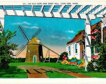Vintage Cape Cod Postcard - An Old Cape Cod Grist Mill (Unused)