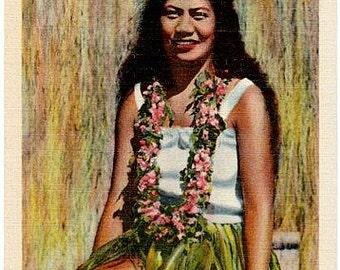 Vintage Hawaii Postcard - Hawaiian Hula Girl (Unused)