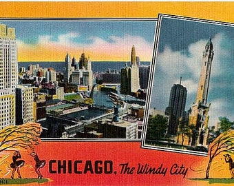 Vintage Chicago Postcard - Chicago ... The Windy City (Unused)