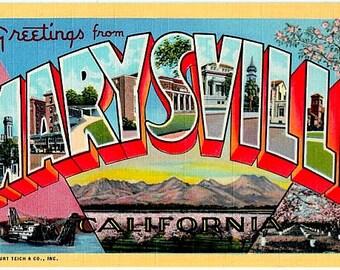 Vintage California Postcard - Greetings from Marysville (Unused)