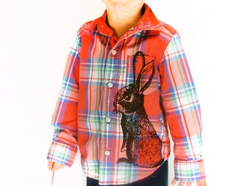 SALE Toddler Cottontail Rabbit shirt - eco brown ink screenprint on red cotton plaid buttondown long sleeve - upcycled, size 2T