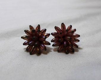 Vintage Pink Burst Chrysanthemum Flower Screwback Earrings