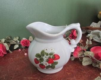 McCoy Strawberry Pitcher Milk Juice or Flower Vase