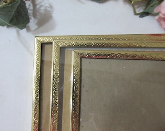 Picture Frames Set of 3 Gold 8 x 10 Metal with Glass and Stand Alone Backings