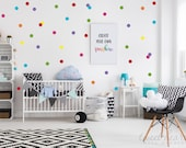 """2"""" Rainbow Polka Dots Wall Decals, Peel and Stick Decals, Confetti Decals, Rainbow Color Polka Dot Pack, Includes all 7 colors, Set of 70"""