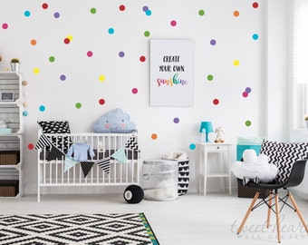 """2"""" Rainbow Polka Dots Wall Decals, Peel and Stick Decals, Confetti Decals, Rainbow Color Polka Dot Pack, Includes all 7 colors"""