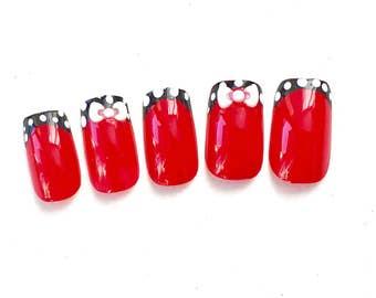 Sweetie Pie Polka Dot French Fake Nails, Press On Nails, Kawaii Cute Nails, Girly Japanese Nail Art Accessories, Polka Dot False Nails