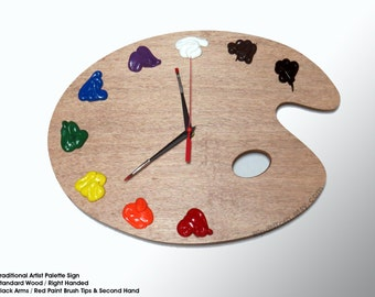 Artist Palette Wall Clock with 3D Paint Daubs, Globs - Unique Art Studio Decor or Artist Gift - TRADITIONAL, Left or Right Handed pallette