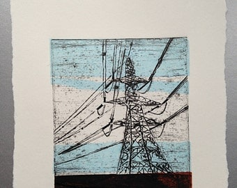 Pylon (Original Hand Pulled Artists Collagraph Print with Chine Colle)