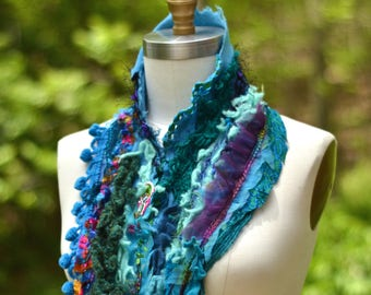 Cashmere SCARF Wrap, bohemian art to wear, turquose textured up cycled accessory, altered blue wrap, textured scarf with ruffles, pom poms.