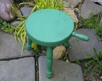 Vintage Three Legged Wood Green Milking Stool