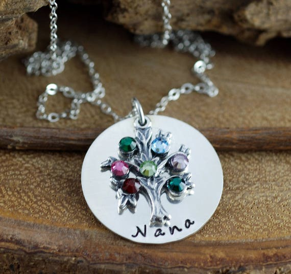 Family Tree Jewelry with Birthstones, Hand Stamped Jewelry, Tree of Life Jewelry, Grandmother Necklace, Mommy Necklace, Gift for Grandma