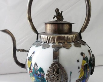 Asian Hand Painted Ornamental Armored Porcelain Empress Chinese Teapot Tibetan Miao Silver Monkey Kirin DRAGONS