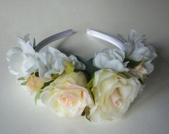 Blush rose, white & ivory satin band, pink bridal flower headpiece, flower girl hair accessories