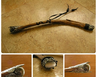 "Sage Laborite Wand, 10"" long, Desert Blue Sage branch, laborite sphere with filigree, a gray cat eye cab on the bottom (#1602)"