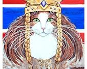 Cat Nightshirt, Norwegian Forest Cat, Freya Goddess of Love and War red white blue flag