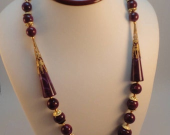60s Burgundy Swirl Lucite/Galalith Matinee Necklace Art Deco Style