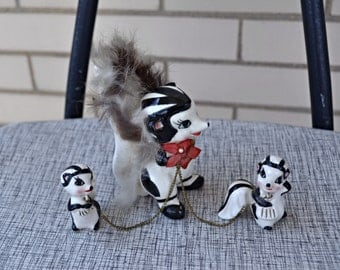 50s ceramic skunk family, 1950s made in japan figurine, vintage skunks, mama and babies Kitschy decor