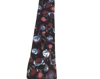 Vintage Black GEOMETRIC Mens Tie / Zylos George Machado Necktie / 100% Italian Silk