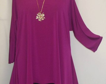 Coco and Juan, Lagenlook, Plus Size Top, Amethyst, Traveler Knit Drape Side, Womens Tunic Top, One Size, Bust  to 60 inches