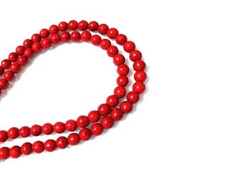 4MM  Red Turquoise Round Gemstone Beads , 15.5 Inch Strand