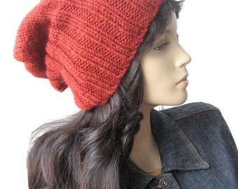 Hand Knit Hat,Made to Order, Watchman Cap Slouchy Hat, The Alex Hat, Vegan Knits, Fisherman KnitHat Winter Fashion Mens Hat Womens Hat