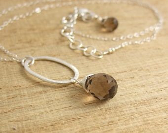 Necklace with Pendant of Brushed Sterling Silver Loop and Smokey Quartz Teardrop CDN-672