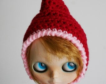 Extra Pointy Elf - Christmas Hat for Blythe - Pixie Gnome - Red and Pink with Jingle Bell