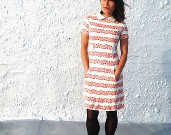 Vintage 1970s Mod Red White and Blue Floral Day Dress S/M