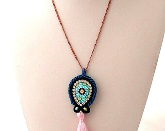 pink blue tassel boho necklace   gipsy jewelry for her    moroccan zelij inspiration jewellery   wedding in the beach   valentines  day