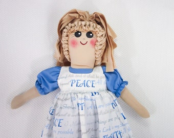 Plastic Bag Holder Doll, Inspirational Saying, Recycle, Grocery Bag Holder, Country Kitchen, Kitchen Storage, Religious Gift, Primitive Doll