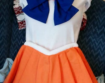 ADULT Sailor Scout Costume INCLUDES Pleated Sailor Skirt, Collar and Front/Back Bow Cosplay Size Adult Small, Medium and Large