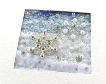 Beaded snowflake card - 4.75 inch square Christmas card - Stitched fabric Winter patchwork - fabric Christmas card - Holiday art quilt card