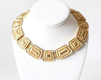 Vintage Les Bernard Heavy Goldtone Collar Necklace