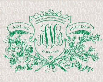 Irish Rose Floral Shield Custom Wedding Monogram - Wedding Logo - Wedding Crest