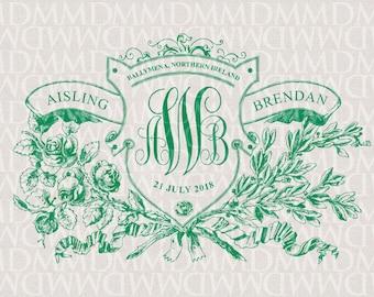 Irish Rose Floral Shield Custom Wedding Monogram - Wedding Logo - Wedding Crest