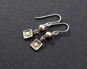 Tiny Hearts Sterling Silver Earrings, Small Earrings, Silver Earrings, Sterling Silver Earrings, Heart Earrings, Artisan Earrings,  E008