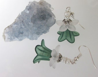 Green Flower Earrings, Forest Green Lily, Green and White Lucite Flowers, Dangle Earrings