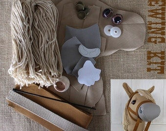 """Stick Horse Hobby Horse Mustang Collection """"Chai"""" Sewing Kit Easy Sewing Project"""