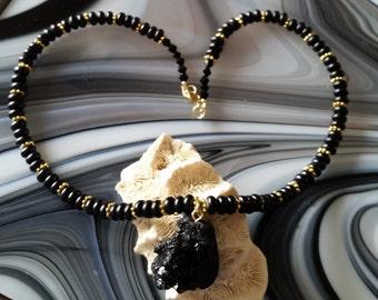 Black Drusy Pendant Beaded Necklace