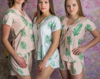 U-shaped neckline Style Pj Sets in Tropical Delight Palm Leaves Pattern