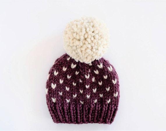 Little Heart Knitting Pattern : Fair Isle Hat Pattern // Hat Knitting Pattern // Little Hearts