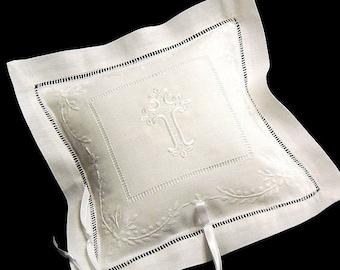 Cross Ring Bearer Pillow, Cross Wedding Pillow, Ring Bearer Pillow, Embroidered Wedding Ring Pillow, White Bridal Ring Pillow, Style 7963