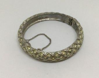 Clearance FLORENZA Rhinestone Clamper Vintage Bangle Bracelet
