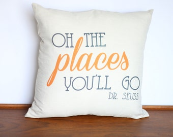 Oh the Places You'll Go Pillow | Dr Seuss Decor | Baby Shower Gift | Nursery Decor | Graduation Gift | Uncomon Pillow Childrens Book