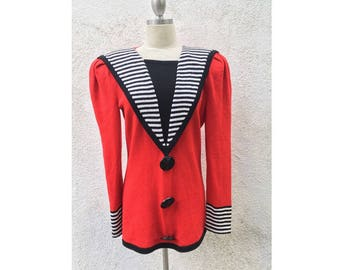 Raul Blanco Vintage hand loomed l/s red eighties sweater size m