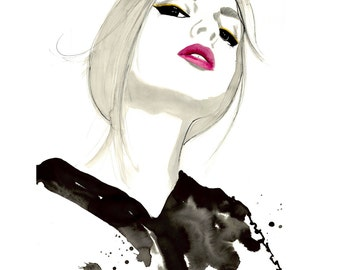 Magnetic, original watercolor and pen fashion illustration by Jessica Durrant